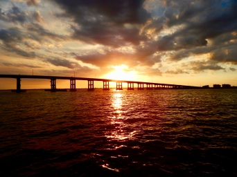 Sunset of bridge from Fort Myers Fl into Cape Coral Fl
