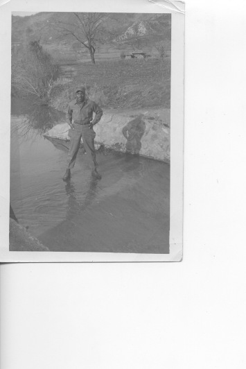 Dad standing on ice in Korea early 1950's